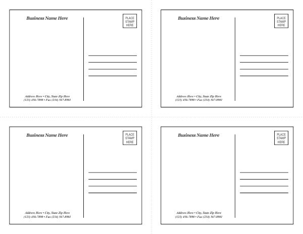 postcard template 1. Black Bedroom Furniture Sets. Home Design Ideas